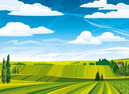 Green summer landscape with meadows and trees on a cloudy sky Stock Vector - 15680155