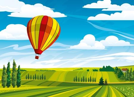 baum pflanzen: Red Hei�luftballon und gr�nen l�ndlichen Wiese auf einem blauen Himmel bew�lkt