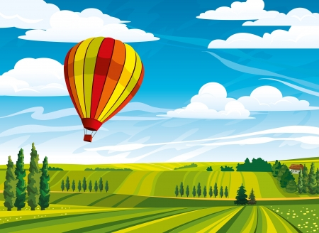 cypress tree: Red hot air balloon and green rural meadow on a blue cloudy sky