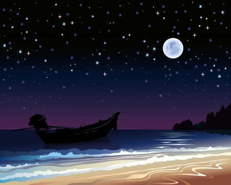 Night starry sky with full moon, boat and sea Vector