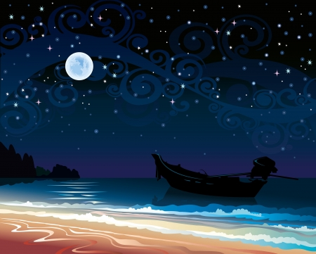 Night starry sky with full moon, doat, sea and beach Illustration