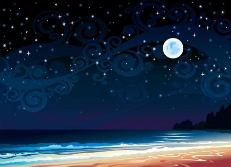 Vector cielo nocturno nublado con la Luna Llena, la playa y el mar Vectores