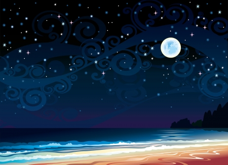 horizon over water: Vector night cloudy sky with full moon, beach and sea