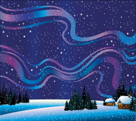 Winter nature with beautiful northern lights, forest and homes Stock Vector - 15680166