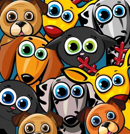 dalmatier: Groep van gekleurde, grappige dieren - katten, honden en herten Stock Illustratie