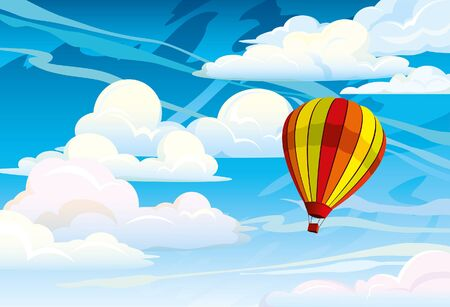 above the clouds: Red hot air balloon on a blue cloudy sky