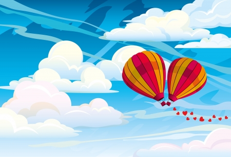 hot couple: Couple red hot air balloons on a blue cloudy sky