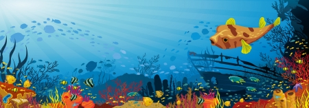 Colored coral reef with fish, puffer and silhouette of sunken ship on blue sea background