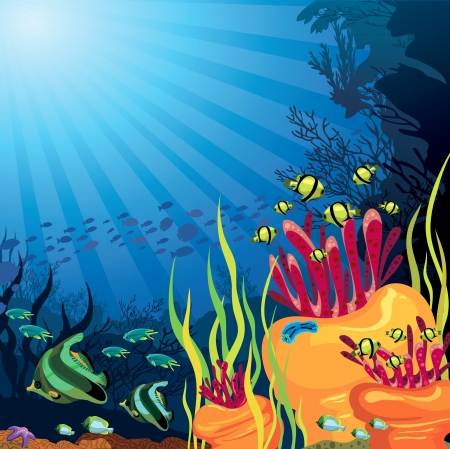 Underwater life - beautifull coral reef with fish on a blue sea background Vector