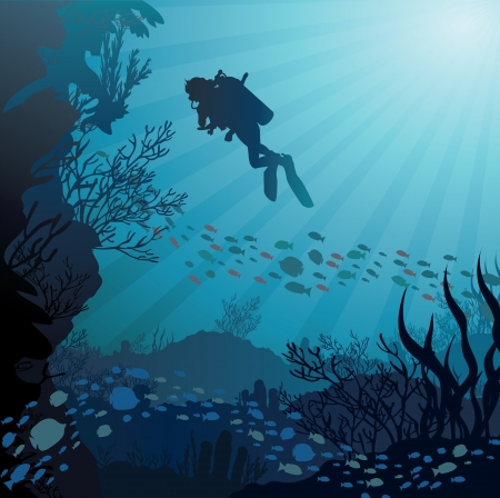 Coral reef with fish and silhouette of diver on blue sea background