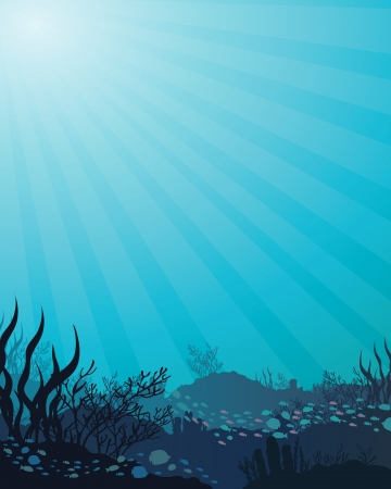 underwater light: Vector corals and fish on a blue sea background