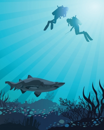 Two divers looking to the big shark and coral reef on a blue sea background Illustration