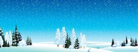 Vector winterlandschap met bos en sneeuwval op een blauwe hemel achtergrond