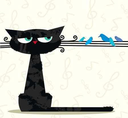 funny cats: Cartoon black funny cat looking at the birds sitting on his mustache