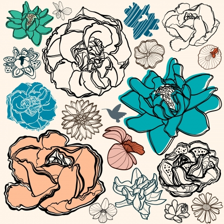 Set of flowers - rose, orchid, and other fantastic flowers. Floral elements. Vector
