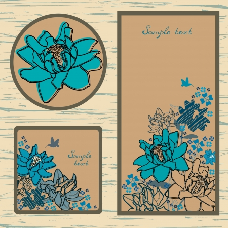 Vector set: labels and cutaway with blue flowers and hummingbird Vector