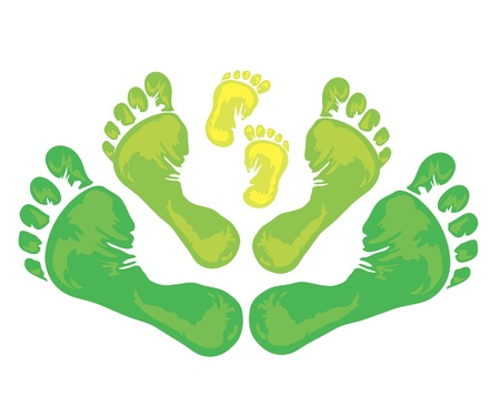 new born: Symbol of family - three green foot print from the father, mother and child Illustration