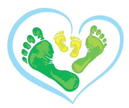 pie bebe: S�mbolo de la familia - tres huella verde del padre, la madre y el ni�o