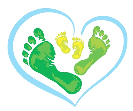 foot prints: Symbol of family - three green foot print from the father, mother and child Illustration