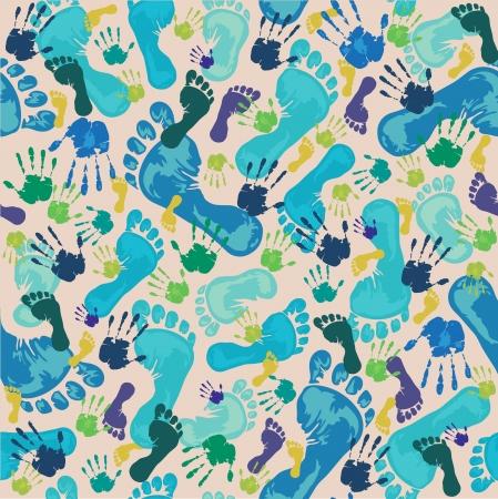 manos y pies: Patrón con huellas azules y verdes huellas de las manos