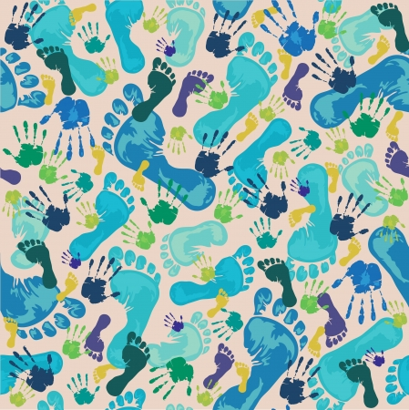 Pattern with blue footprints and green handprints