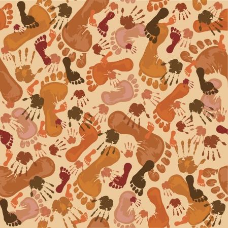 manos y pies: Patrón con huellas marrones y huellas de las manos