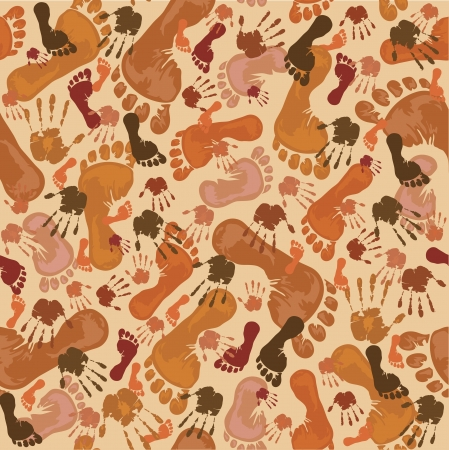 Pattern with brown footprints and  handprints Stock Vector - 16256572