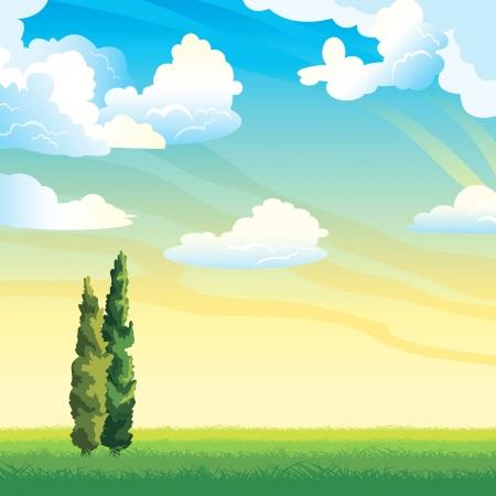 zypresse: Sommerlandschaft - Gruppe von Wolken und zwei Zypressen auf einer gr�nen Wiese Illustration