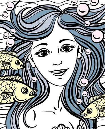 Sketch of yellow fish and mermaid with blue hair like waves Vector