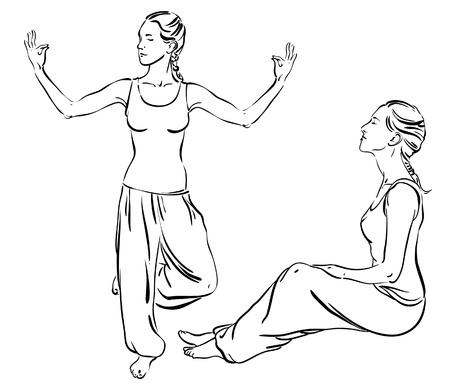 sitting meditation:  Sketch of woman doing yoga on a white background Illustration