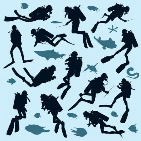 Set of diver silhouettes and fish