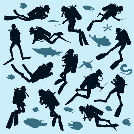 scuba diving: Set van duiker silhouetten en vis