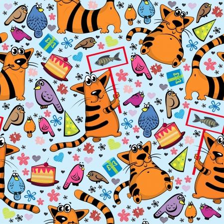 happy cat: Cartoon nahtlose Muster mit lustigen Katzen und bunte V�gel