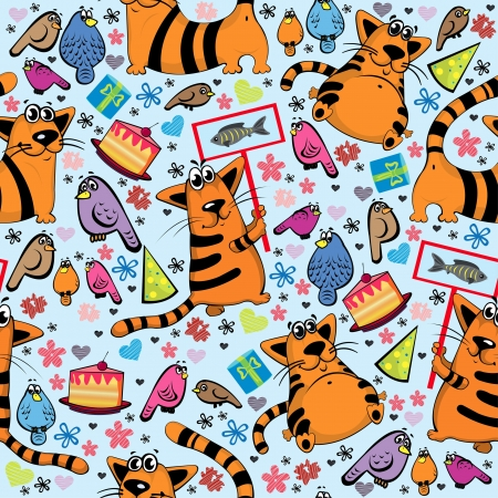 smiling cat: Cartoon seamless pattern with funny cats and colored birds
