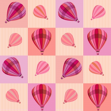 Seamless pattern with colored hot air balloons Vector