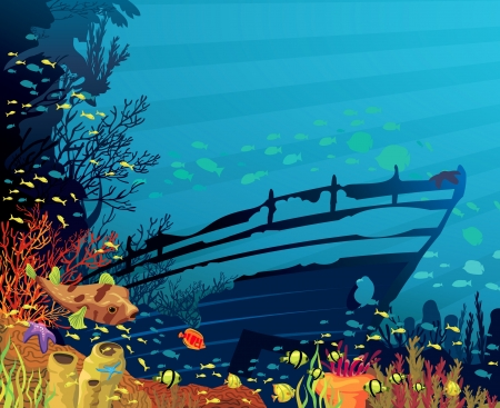 coral reef: Colored coral reef with fish, puffer and silhouette of sunken ship on blue sea background