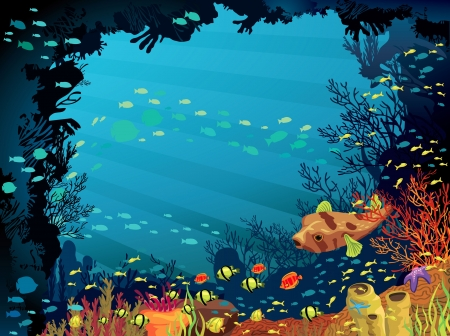 Colored coral reef with fish and puffer on blue sea background Vector