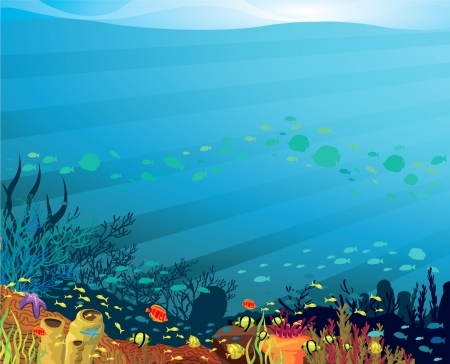 Underwater life - Coral reef with fish on a blue sea background Vector