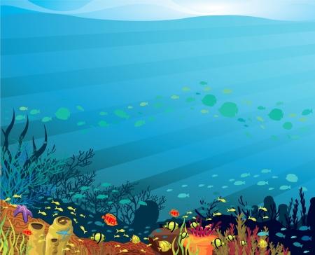 arrecife: Underwater vida - arrecife de coral con peces sobre un fondo azul del mar
