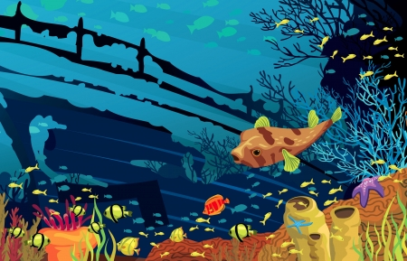 Colored coral reef with fish, puffer and silhouette of sunken ship on blue sea background Vector