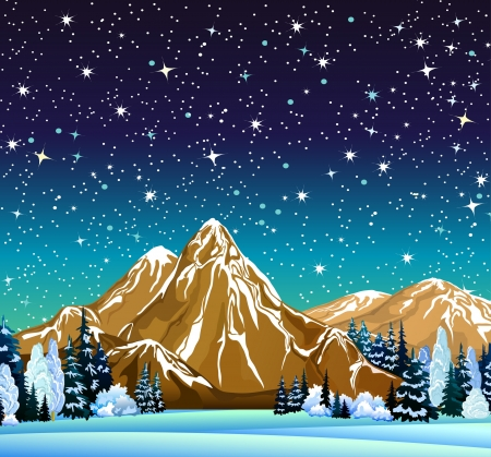 snowy mountains: Winter night landscape with mountains, frozen trees and starry sky