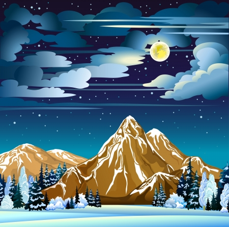 Winter night landscape with mountains, frozen trees and full moon on a cloudy sky Vector