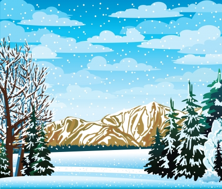 Winter landscape with mountains, frozen trees and snowfall Stock Vector - 16643233