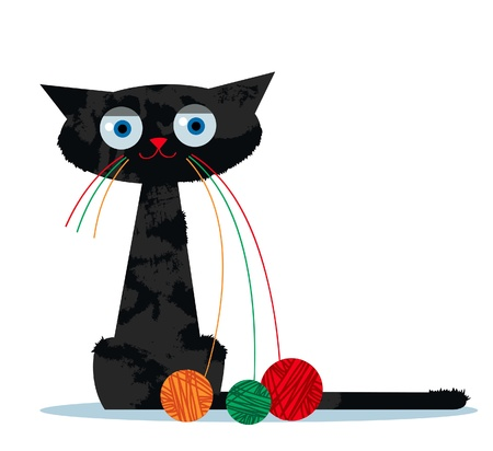 Cartoon funny black cat with a clew of yarn instead of whiskers