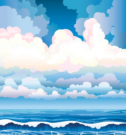 Blue sea with waves and cloudy stormy sky Stock Vector - 16687604