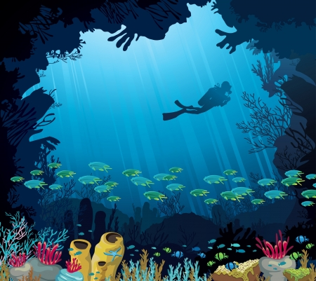 Coral reef with fish and silhouette of diver on blue sea background. Underwater tropic life. Vector
