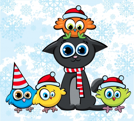 Cartoon christmas cat and colorful birds with funny red hats Vector