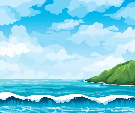 accidentado: Paisaje marino con olas y la isla verde en un fondo azul cielo nublado Vectores