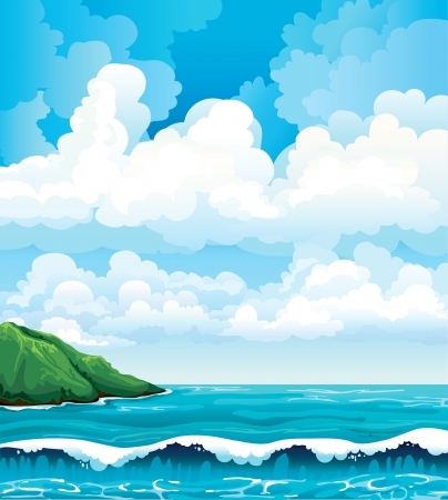 Summer landscape with group of clouds, island and blue sea with waves Vector