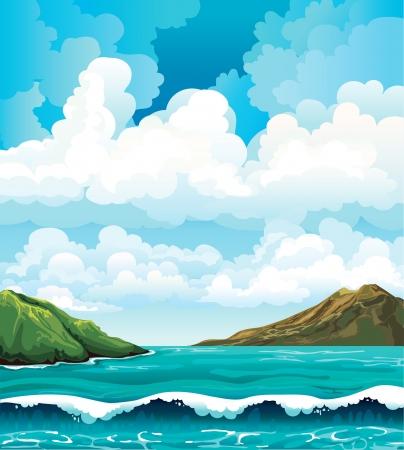 accidentado: Paisaje marino con olas e islas verdes sobre un fondo azul cielo nublado